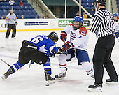 Justin Cseter (UAH - 26), Shayne Thompson (UML - 7) - The University of Massachusetts-Lowell River Hawks defeated the University of Alabama-Huntsville Chargers 3-0 on Friday, November 25, 2011, at Tsongas Center in Lowell, Massachusetts.