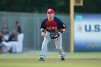 Hagerstown Suns third baseman Conor Keniry (11) on defense against the Kannapolis Intimidators at Intimidators Stadium on July 18, 2015 in Kannapolis, North Carolina.  The Intimidators defeated the Suns 1-0.  (Brian Westerholt/Four Seam Images)