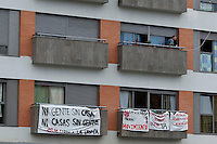 Occupation of empty luxury flats in Seville by homeless families. The occupation was organised by the local M15 movement. September 2012