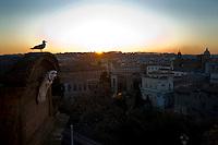 Rome, February 29, 2012. Tramonto su Roma. Rome at sunset