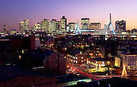 Skyline with Zakim Bridge, night, from Charlestown, Boston, MA