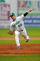 Paul Fry #26 of the Clinton LumberKings pitches in relief against the Kane County Cougars at Ashford University Field on July 5, 2014 in Clinton, Iowa. The Cougars won 4-0.   (Dennis Hubbard/Four Seam Images)