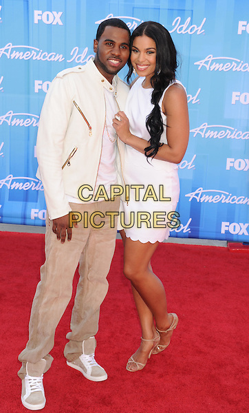 Jason Derulo, Jordin Sparks.American Idol Season 11 Finale - Arrivals held at Nokia Theatre LA Live, Los Angeles, California, USA..May 23rd, 2012.full length white sleeveless dress scallop hem beige jeans denim leather jacket couple.CAP/ROT/TM.©Tony Michaels/Roth Stock/Capital Pictures