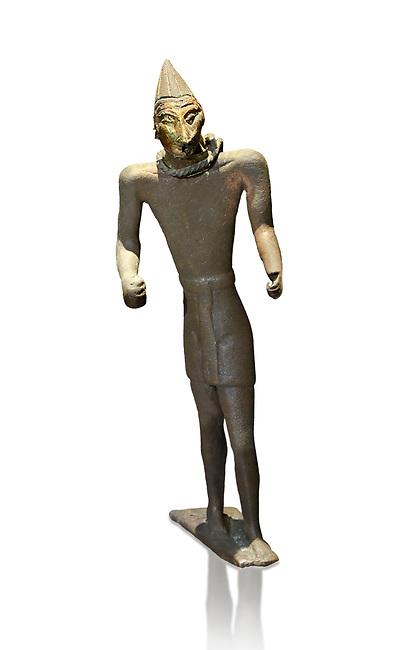 Hittite bronze figure with a mask, Hittite Period. Adana Archaeology Museum, Turkey. Against a white background
