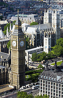 Aerial view Big Ben and the Houses of Parliament famous tourist landmark, London, England, United Kingdom