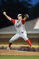 Lowell Spinners pitcher Brandon Show (38) delivers a pitch during a game against the Batavia Muckdogs on July 18, 2014 at Dwyer Stadium in Batavia, New York.  Lowell defeated Batavia 11-2.  (Mike Janes/Four Seam Images)