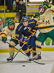 29 December 2013:  Canisius College Golden Griffins forward Patrick Sullivan, a Senior from Derby, NY, dives to set up the Griffins first goal against the University of Vermont Catamounts in the first period at Gutterson Fieldhouse in Burlington, Vermont. The Catamounts defeated the Golden Griffins 6-2 in the 2013 Sheraton/TD Bank Catamount Cup NCAA Hockey Tournament. Mandatory Credit: Ed Wolfstein Photo *** RAW (NEF) Image File Available ***