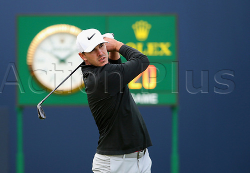 20th July 2017, Royal Birkdale Golf Club, Southport, England; The 146th Open Golf Championship ; First round ; US Open champion Brooks Koepka of (USA) follows his shot from the tee of the first hole during the  first round of the Open Championship