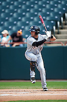 Akron RubberDucks left fielder Taylor Murphy (11) at bat during the second game of a doubleheader against the Bowie Baysox on June 5, 2016 at Prince George's Stadium in Bowie, Maryland.  Bowie defeated Akron 12-7.  (Mike Janes/Four Seam Images)