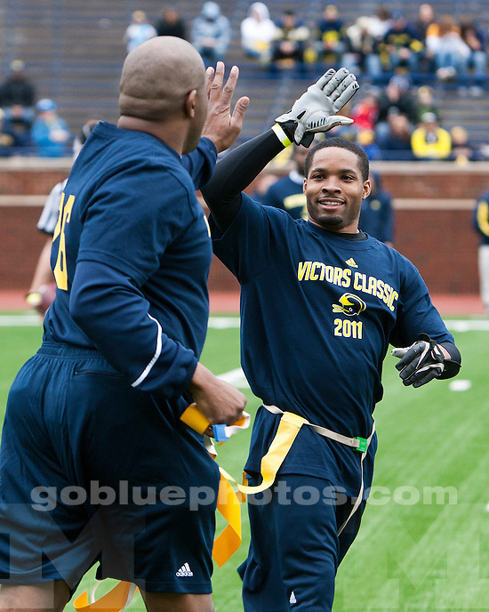 The 2011 Mott Spring Game featuring the University of Michigan football team and alumni at Michigan Stadium in Ann Arbor, MI, on April 16, 2011.