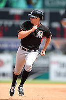 Miami Marlins infielder Don Kelly (30) during a Spring Training game against the Detroit Tigers on March 25, 2015 at Joker Marchant Stadium in Lakeland, Florida.  Detroit defeated Miami 8-4.  (Mike Janes/Four Seam Images)