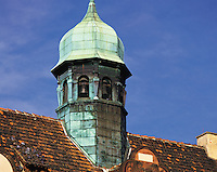 Tiled roof and green copper-clad belfry, Heidelberg, Bavaria, southern German