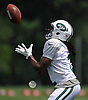 Andre Roberts #3 of the New York Jets makes a catch during Training Camp at the Atlantic Health Jets Training Center in Florham Park, NJ on Tuesday, Aug. 7, 2018.