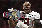 ATLANTA, GA - JANUARY 08: Raekwon Davis #99 of the Alabama Crimson Tide celebrates on the sidelines against the Georgia Bulldogs during the College Football Playoff National Championship held at Mercedes-Benz Stadium on January 8, 2018 in Atlanta, Georgia. Alabama defeated Georgia 26-23 for the national title. (Photo by Jamie Schwaberow/Getty Images)
