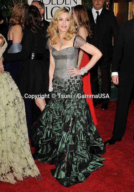 Madonna    at The 2012 Golden Globe Awards at the Beverly Hilton Hotel In Beverly Hills, CA