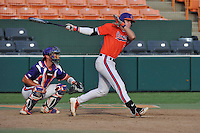 First baseman Seth Beer (28) of the Clemson Tigers bats during a Purple-Orange fall scrimmage on Sunday, October 2, 2016, at Doug Kingsmore Stadium in Clemson, South Carolina. The catcher is Robert Jolly (12). (Tom Priddy/Four Seam Images)