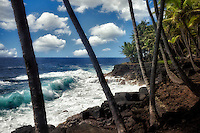 Coastline iand waves in the Puna area. Hawaii Island