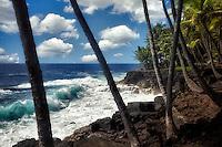 Coastline iand waves in the Puna area. Hawaii Island