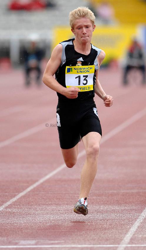 Photo: Richard Lane/Richard Lane Photography..Norwich Union British Grand Prix, Sheffield. 15/07/2007. .John Jackson in the Men's 60m Under 17 Fastest Kid Final.