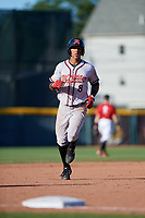 Richmond Flying Squirrels Johneshwy Fargas (8) rounds the bases after a Jalen Miller (not shown) home run during an Eastern League game against the Erie SeaWolves on August 28, 2019 at UPMC Park in Erie, Pennsylvania.  Richmond defeated Erie 6-4 in the first game of a doubleheader.  (Mike Janes/Four Seam Images)