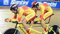 Picture by Simon Wilkinson/SWpix.com - 02/03/2017 - Cycling 2017 UCI Para-Cycling Track World Championships, Los Angeles USA - Gold - Spain's AVILA RODRIGUEZ Ignacio and FONT BERTOLI Joan<br /> branding