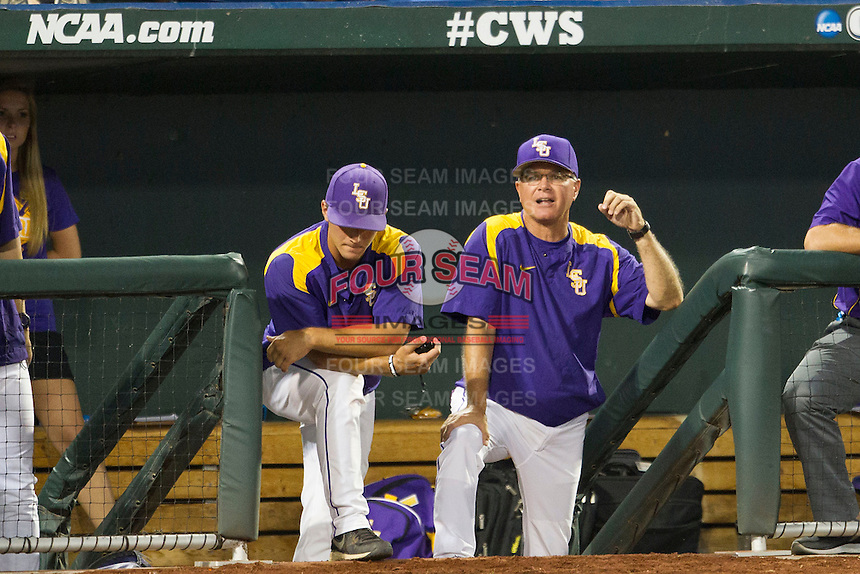 LSU Tiger head coach Paul Maineri during Game 4 of the 2013 Men's College World Series against the UCLA Bruins on June 16, 2013 at TD Ameritrade Park in Omaha, Nebraska. UCLA defeated LSU 2-1. (Andrew Woolley/Four Seam Images)
