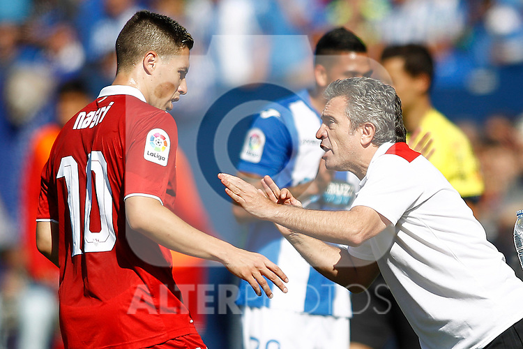 Sevilla FC's second coach Juan Manuel Lillo and Samir Nasri during La Liga match. October 15,2016. (ALTERPHOTOS/Acero)