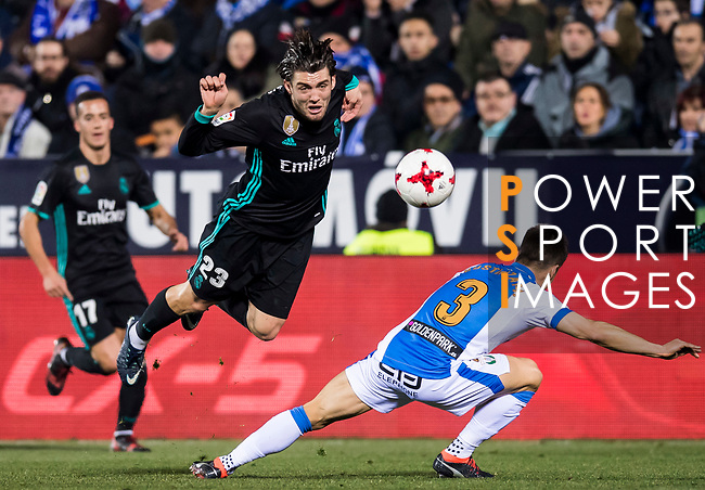 Mateo Kovacic of Real Madrid gets tripped by Unai Bustinza of CD Leganes during the Copa del Rey 2017-18 match between CD Leganes and Real Madrid at Estadio Municipal Butarque on 18 January 2018 in Leganes, Spain. Photo by Diego Gonzalez / Power Sport Images