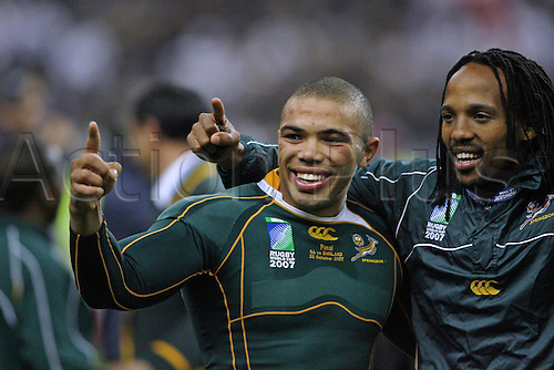 20.10.2007: South Africa wing Bryan Habana celebrates after the IRB Rugby World Cup Final between England and South Africa played at Stade de France, Paris. South Africa won the game 15-6.