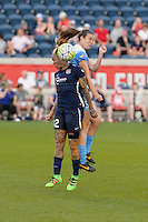 Bridgeview, IL - Sunday May 29, 2016: Sky Blue FC forward Tasha Kai (32) goes up for a header with Chicago Red Stars defender Katie Naughton (5). The Chicago Red Stars and Sky Blue FC played to a 1-1 tie during a regular season National Women's Soccer League (NWSL) match at Toyota Park.