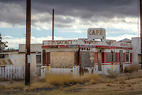 A Valentine Diner at the Twin Arrows Trading Post on Route 66 in Arizona.  The Trading Post was built sometime in the 1950's or 60's and closed in the late 1990's.  The Hopi Indians now own the land and are working to restore Twin Arrows.