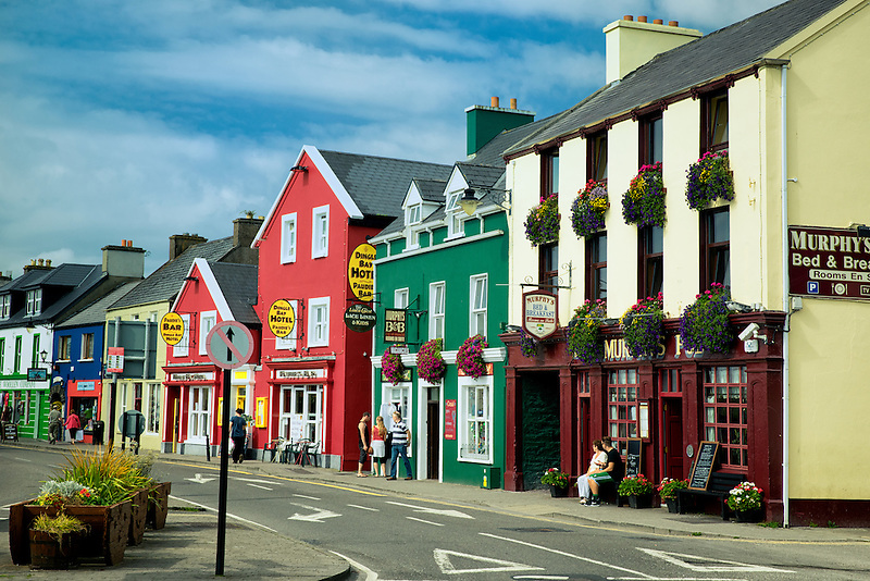 Main street shops in the town of Dingle. Ireland