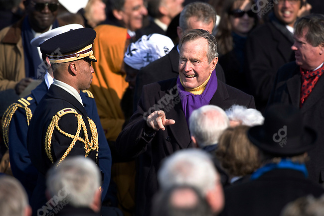 Former U.S. President George H.W. Bush arrives for President-elect Barack Obama's and Vice-President-elect Joe Biden's swearing-in ceremony at The Capitol Building. Washington, DC, January 20, 2009.