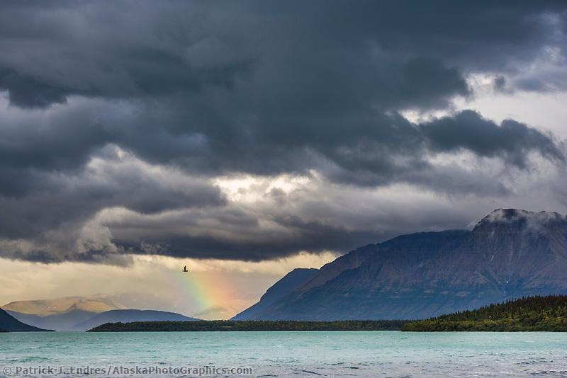 Rainbow over the mountains adjacent to Naknek lake, Katmai National Park, Alaska.