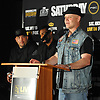 Joseph Higgins, boxing trainer for fellow Long Island native Seanie Monaghan (not pictured), speaks during a news conference at NYCB Live's Nassau Coliseum on Tuesday, June 6, 2017. Monaghan will face Marcus Browne of Staten Island on July 15 when professional boxing is scheduled to return to the coliseum for the first time in over 30 years.