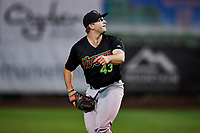 Ryan Boelter (43) of the Great Falls Voyagers delivers a pitch to the plate against the Ogden Raptors at Lindquist Field on September 14, 2017 in Ogden, Utah. The Raptors defeated the Voyagers 7-4 in Game One of the Pioneer League Championship. (Stephen Smith/Four Seam Images)