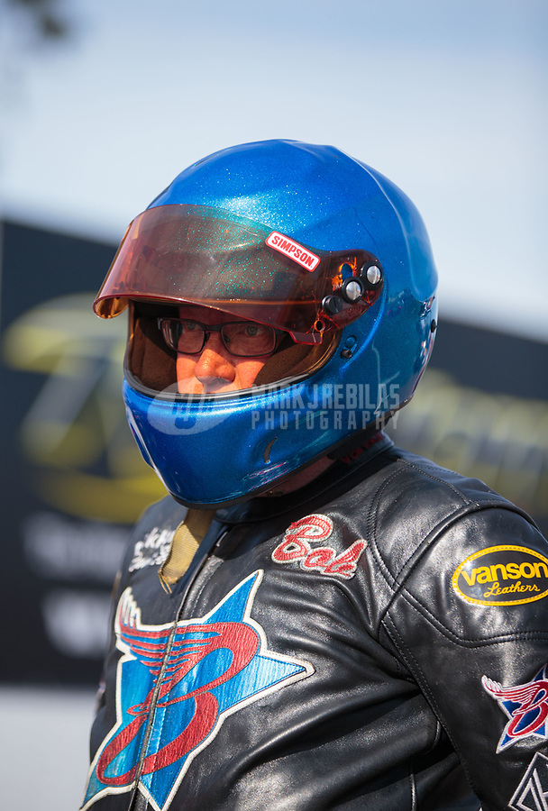 Feb 24, 2019; Chandler, AZ, USA; NHRA top fuel Harley Davidson nitro motorcycle rider Bob Malloy during the Arizona Nationals at Wild Horse Pass Motorsports Park. Mandatory Credit: Mark J. Rebilas-USA TODAY Sports