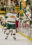 15 November 2015: University of Vermont Catamount Forward Brian Bowen, a Freshman from Littleton, MA, gets congratulated for scoring his first college career goal in the first period against the University of Massachusetts Minutemen at Gutterson Fieldhouse in Burlington, Vermont. The Minutemen rallied from a three goal deficit to tie the game 3-3 in their Hockey East matchup. Mandatory Credit: Ed Wolfstein Photo *** RAW (NEF) Image File Available ***