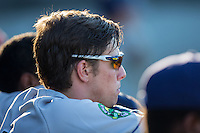 Joshua Lowe (7) of the Princeton Rays watches from the dugout during the game against the Burlington Royals at Burlington Athletic Stadium on August 12, 2016 in Burlington, North Carolina.  The Royals defeated the Rays 9-5.  (Brian Westerholt/Four Seam Images)