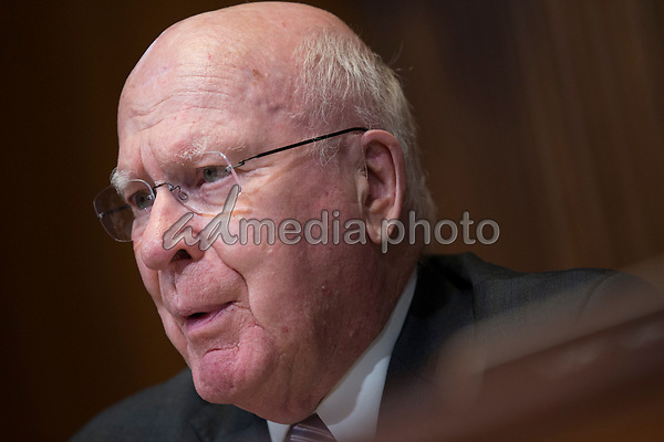 United States Senator Patrick Leahy (Democrat of Vermont) questions US Secretary of State Mike Pomeo during the US Senate State, Foreign Operations, and Related Programs Subcommittee hearing on April 9, 2019.<br /> Credit: Stefani Reynolds / CNP/AdMedia