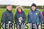 supporters Michael McEllistrim, Myra O'Carroll, John Joe O'Carroll pictured during half time at the Bernard O'Callaghan Memorial Senior Football Championship final last Saturday Beale V Listowel Emmets