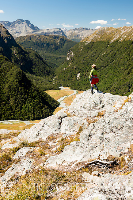 Female tramper enjoying splendid views into Routeburn Flats, Mt. Aspiring National Park, UNESCO World Heritage Area, Central Otago, New Zealand, NZ