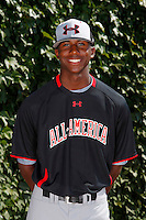 Outfielder Lewis Brinson #18 poses for a photo before the Under Armour All-American Game at Wrigley Field on August 13, 2011 in Chicago, Illinois.  (Mike Janes/Four Seam Images)