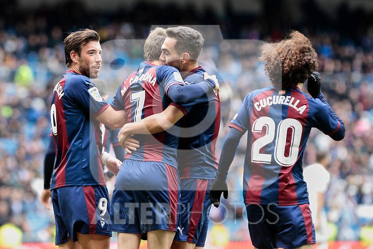 SD Eibar's players celebrate goal during La Liga match between Real Madrid and SD Eibar at Santiago Bernabeu Stadium in Madrid, Spain.April 06, 2019. (ALTERPHOTOS/A. Perez Meca)