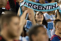 Santa Clara, CA - Monday June 6, 2016: An Argentina fan celebrates their victory. Argentina played Chile in the group D match of the Copa América Centenario game at Levi's Stadium.