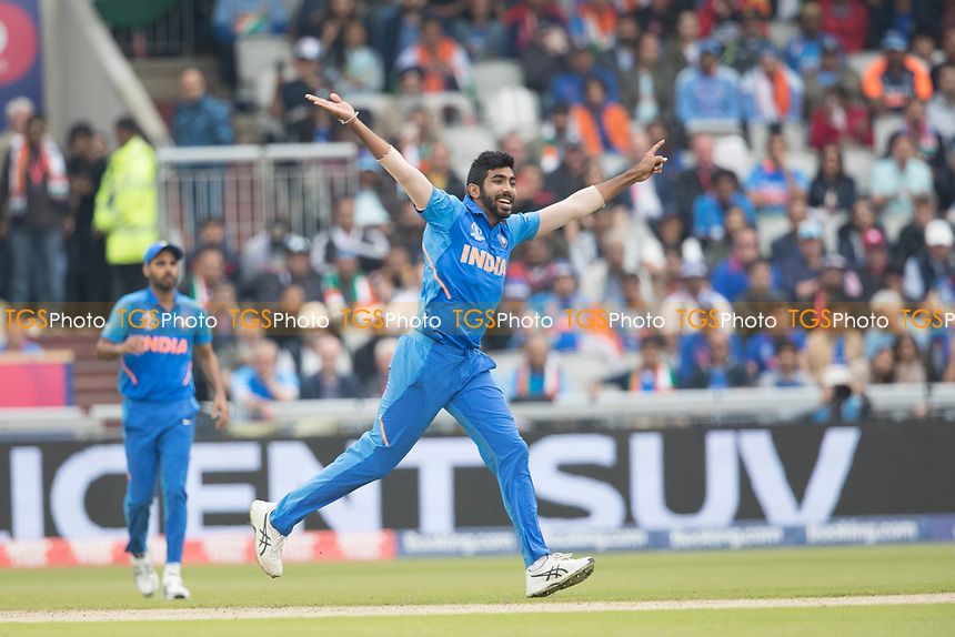 Jasprit Bumrah (India) believes he has the wicket of Taylor during India vs New Zealand, ICC World Cup Semi-Final Cricket at Old Trafford on 9th July 2019