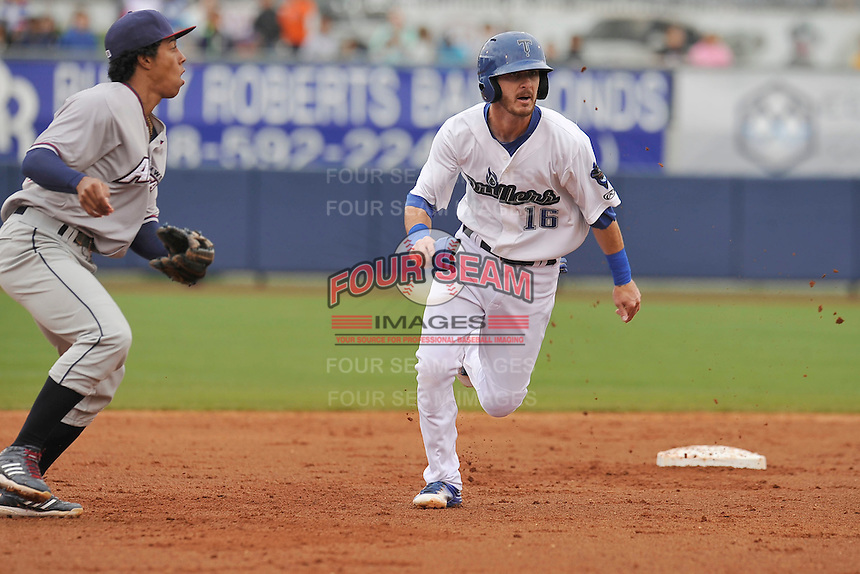 Tulsa Drillers Brandon Trinkwon (16) runs to third base during the game against the Northwest Arkansas Naturals at Oneok Field on May 2, 2016 in Tulsa, Oklahoma.  Northwest Arkansas won 9-6.  (Dennis Hubbard/Four Seam Images)
