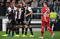 Federico Bernardeschi of Juventus celebrates with Blaise Matuidi , Alex Sandro and Gonzalo Higuain after scoring the goal of 2-0 for his side <br /> Torino 01/10/2019 Juventus Stadium <br /> Football Champions League 2019//2020 <br /> Group Stage Group D <br /> Juventus - Leverkusen <br /> Photo Andrea Staccioli / Insidefoto