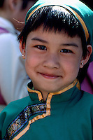 Portrait of Young Portuguese Girl wearing Traditional Costume at Ethnic Festival, BC, British Columbia, Canada (No Model Release Available)