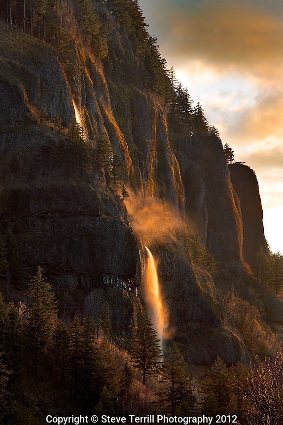 Mist Falls in last light of day in Columbia River Gorge National Scenic Area, Oregon
